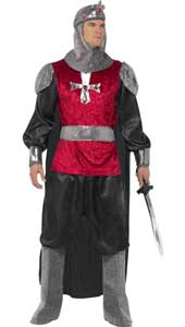Medieval Knight Costume with tunic, trousers, hood, boot covers and belt.