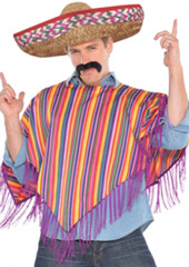 Mexican Man Costume includes a traditional poncho with purple fringe trim and an embroidered straw sombrero hat.