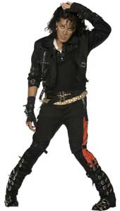 Michael Jackson Bad Costume, includes jacket, trousers, gloves, 2 belts, bracelet and shoe covers.
