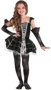 Midnight Mischief Child Costume, features a black and silver tutu style dress with spider web cap sleeves, corset bodice details and metallic silver lining. Glovelettes with spider web print and trim and spider web tights complete this cute and spooky cos