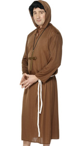 Budget Monk Costume, includes robe with hood and belt. MONKS CROSS NOT INCLUDED - SOLD SEPARATELY.