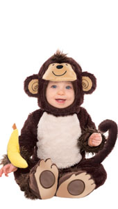 Toddlers Monkey Around Costume features a plush brown monkey jumpsuit with attached footies, monkey tail and light brown tummy. The matching plush hood has a smiling monkey face on the top with a fluffy tuft of hair, ears and a large opening for your baby