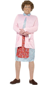 Mrs Brown Costume, includes padded dress and cardigan, wig, glasses, handkerchief and mole.