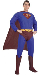 Deluxe Muscle Chest Superman Costume, includes jumpsuit with muscle chest and attached boot tops, cape and molded belt.