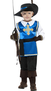 Musketeer Boy Costume, includes top, trousers, hat and gloves.