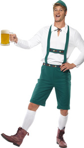 Oktoberfest Costume, includes laderhosen shorts with braces, top and hat.