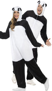 Adult Panda Costume, includes all in one jumpsuit with hood.