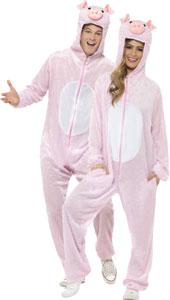 Adult Pig Costume, includes jumpsuit with hood.