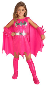Holy marshmallows, Batman Bring a dash of colour to the darkest corners of Gotham City with this striking pink costume This Batgirl is bound to take other colourful characters by surprise. Pink Batgirl, includes dress with attached cape, belt, gaun