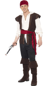 Pirate Adult Fancy Dress Costume, includes headscarf, top, trousers, belt and bootcovers.