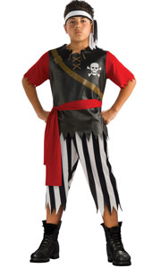 Pirate King Costume, includes printed shirt with vinyl front, headband and trousers.