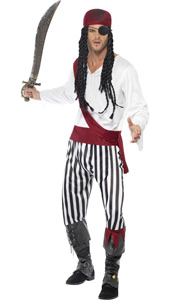 Pirate Man Costume, includes shirt, trousers, headpiece and belt.
