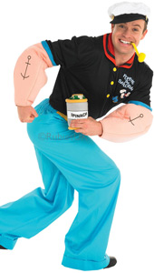 With your muscly arms, pipe and spinach at the ready, you'll be all set to go looking for your own Swee'Pea and Olive Oyl. But mind your back. That evil bearded Bluto might be sailing after you so the punches could start flying! Popeye Costume, inclu