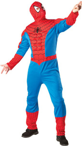 Premium Spiderman Fancy Dress Costume includes jumpsuit with EVA muscle chest and fabric mask.