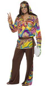 Psychedelic Hippy Costume, includes trousers, shirt and headband.