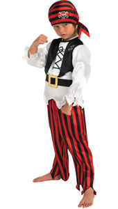 Raggy Pirate Boy Costume, includes top, trousers and headpiece.