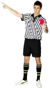 Referee Costume. Black and White with shorts and top. (Socks not included).