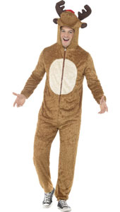Reindeer Costume includes plush jumpsuit with hood.