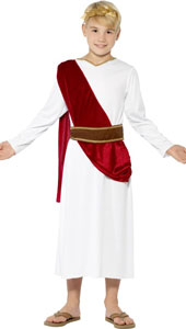 Travel back to Roman times in this Roman Boy Costume which includes robe, belt and headpiece.  Simply accessorise with flip flops or sandals.