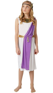 Roman Girl Costume includes tunic with sash and gold wreath.
