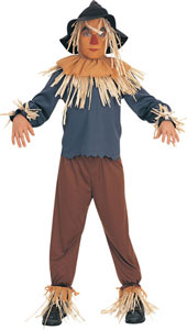 From the Wizard of Oz, Scarecrow Costume, includes hat, headpiece, shirt and hat.