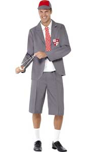 Schoolboy Costume, includes blazer, shirt front and tie, shorts, cap and socks.