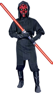 Star Wars Maul Costume, includes hooded tunic with printed belt, trousers with attached boot tops and mask. LIGHTSABER NOT INCLUDED.