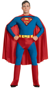 Ever popular, as a comic strip hero, a movie super hero or a party disguise, Superman always makes it a night to remember. Try on the classic look, point to the stars and take off. Don't forget your hair: you need the quiff Superman Costume, include