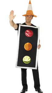 Traffic Light Fancy Dress Costume with Traffic Cone Hat