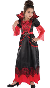 Vampire Queen Costume, features a gothic red and black gown with black lace print on the bodice and sheer red tulle flowing out from the puff sleeves. An attached red stand-up collar with spider-web print is attached to the dress neckline. Pretty peplum e
