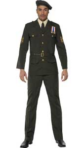 Wartime Officer Costume, includes beret, tie, trousers, belt and jacket.