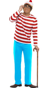 Wheres Wally Costume, includes top, trousers, glasses and hat.