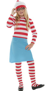 Wheres Wally Wenda Costume, includes hat, top, skirt, glasses and tights.
