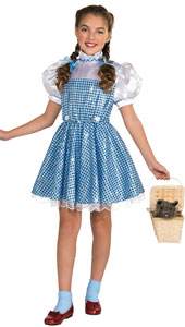 Wizard of Oz Dorothy Costume includes gingham dress with sequins and hair bows.