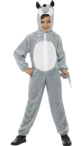 Child Plush Velour Wolf Costume with Hood