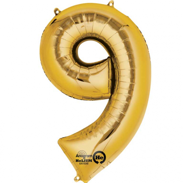 gold numbers 9th ninth birthday aged 9 nine foil balloons