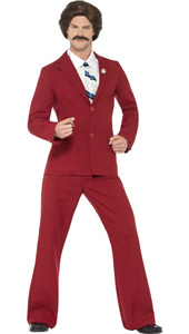 Anchorman Ron Burgundy Costume, includes  suit, mock shirt, moustache and tie.