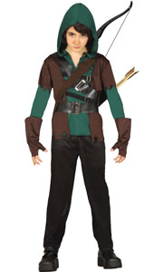 Archer Costume includes t-shirt with gloves, waistcoat and hood, two belts and trousers.