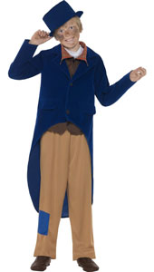 Dickensian Boy Costume includes jacket, trousers, mock shirt with necktie and hat.