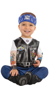 Baby Biker Costume includes hat, jumpsuit and booties
