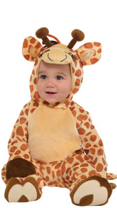 Junior Giraffe Costume includes jumpsuit, hood and booties.