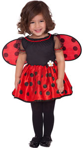 Baby Little Ladybug Costume features a black and red dress with a polka dot full satin skirt, sheer black puff sleeves, a daisy embellishment and detachable polka dot wings.
