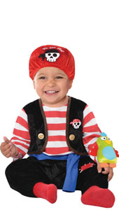 Baby Buccaneer Pirate Costume includes head wrap, jumpsuit with attached vest, sash and toy