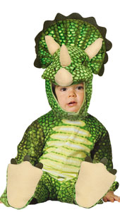 Triceratops Costume includes jumpsuit with tail, feet, and hood.