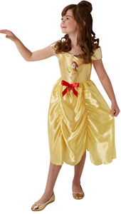 Fairytale Belle Girls Dress Up Costume includes golden satin dress with ruffled skirt, red bow and gold shoulder detail.