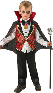Dracula Costume, Contains Vest top with attached bow tie (no collar) and cape with collar