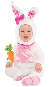 Baby Wabbit Costume includes jumpsuit, hood and rattle.