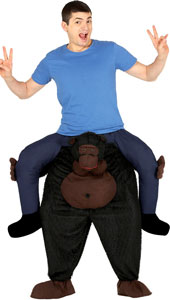 Carry Me Gorilla Costume includes trousers with fake legs  gorilla head and attached shoe covers