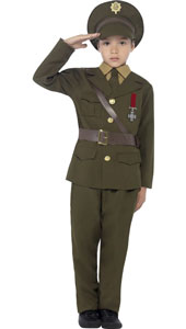 Army Officer Costume includes a green jacket with an attached belt, trousers, hat, mock shirt and tie.