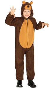 Child Bear Costume includes jumpsuit with hood and tail.